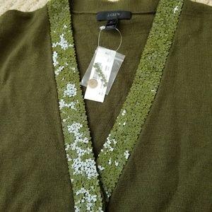 J. Crew Sweaters - NWT J. Crew Green Sequin Cardigan